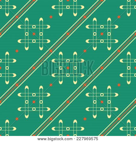 Seamless Geometric Pattern Of Grilles, Dots And Diagonal Lines In Retro Colors