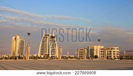 Ashgabat, Turkmenistan -  September 26,  2017 : Modern Architecture Of Ashgabat. A Wide Boulevard Wi