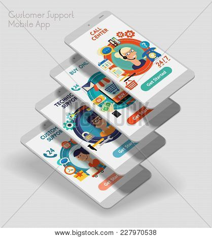 Flat Design Responsive Customer Service Ui Mobile App Splash Screens Template With Trendy Illustrati