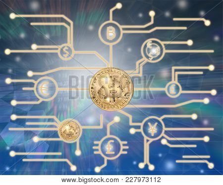 Bitcoin In Concept Market Electronic Money.  Concept Business Background.