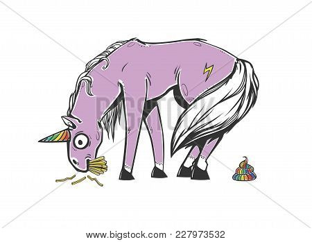 Embarrassed Unicorn With Rainbow Horn And Rainbow Poop. Unicorn Eating French Fries. Graphic Vector
