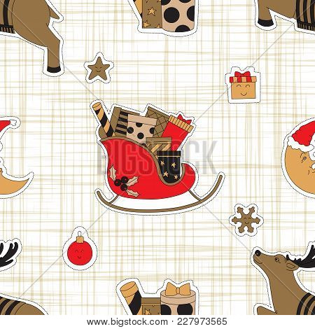Christmas Gifts. Seamless Pattern Background With Deer Vector Illustration.