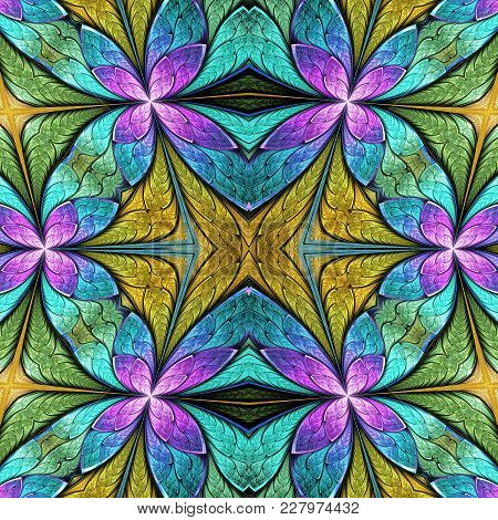 Beautiful Seamless Flower Pattern In Stained-glass Window Style. You Can Use It For Invitations, Not