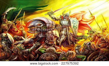 Great warrior in armor and a red cloak waving his sword frightening the army of devils. Colourful picture in the genre of fantasy. poster