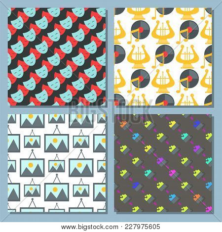 Art Icons Seamless Pattern Background Vector Illustration. Camera Picture Brush Palette Entertainmen