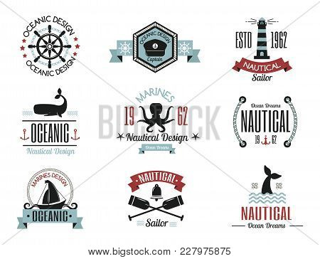 Fashion Nautical Logo Sailing Themed Label Or Icon With Ship Sign Ribbons Travel Element Graphic Bad