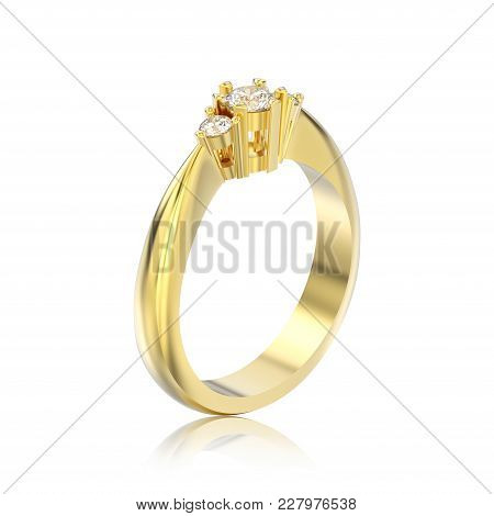 3d Illustration Isolated Yellow Gold Three Stone Diamond Ring With Reflection On A White Background