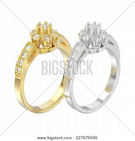 3d Illustration Isolated Two Yellow And White Gold Or Silver Decorative Flower Diamond Rings On A Wh