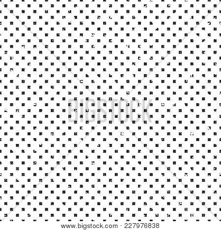 Distressed Geometric Seamless Pattern. Halftone Made Of Little Defoemed Squares. Grunge And Rough Ef