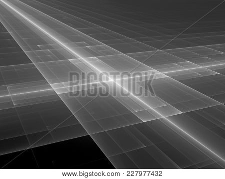 Glowing Futuristic Texture, Black And White, Computer Generated Abstract Texture For Overlay Or Scre