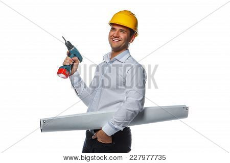 A Man In Yellow Safe Hat With Drill And Drowing Tube Isolated On A White Background.