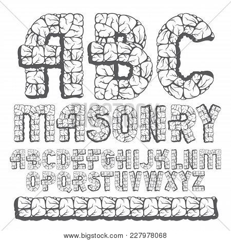 Set Of Trendy Old Vector Capital English Alphabet Letters, Abc Isolated. Bold Type Font, Script From