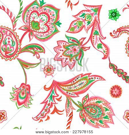 Seamless Paisley Pattern, Watercolor Painting On White Background.
