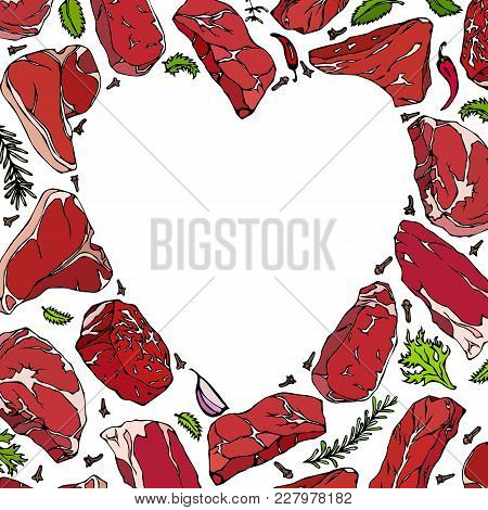 Heart Of Steaks And Herbs. Love Meat. Beef Cuts. Perfect Background For Butcher Shop Or Steak House