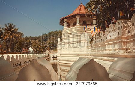 Kandy, Sri Lanka - Jan 6, 2018: Scenic Structure The Golden-roofed 16th Century Temple Of Sacred Too