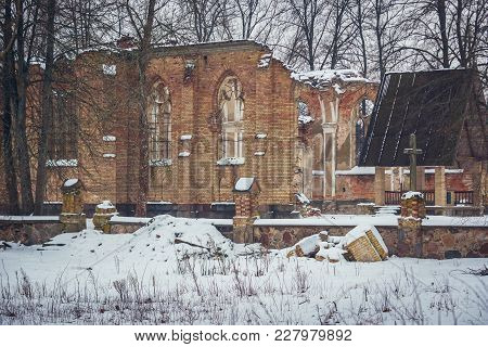 Ruins Of St Anthony Roman Catholic Church In Jalowka, Small Village In Podlasie Region Of Poland