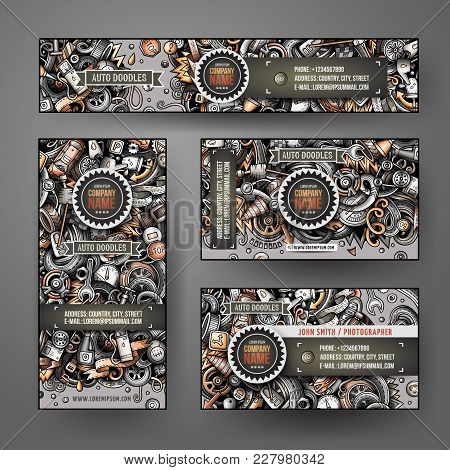 Corporate Identity Vector Templates Set Design With Doodles Hand Drawn Automotive Theme. Colorful Ba