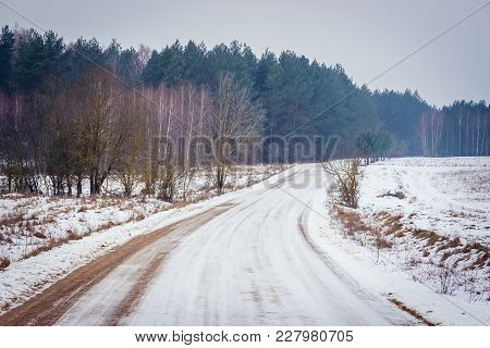 Country Road Covered With Snow In Podlasie Region Of Eastern Poland