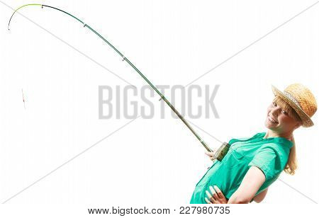 Fishery, Spinning Equipment, Angling Sport And Activity Concept. Woman With Fishing Rod.