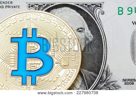 Bitcoin On One Dollar Banknote. Trading Concept. High Resolution Photo.