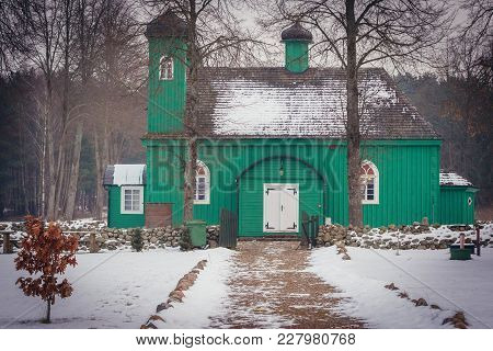Green Wooden Mosque In Kruszyniany, Small Village Famous For Its Lipka Tatars Residents In Podlasie