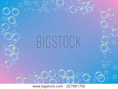 Soap Foam On Gradient Background. Realistic Water Bubbles 3d. Cool Rainbow Colored Liquid Foam With