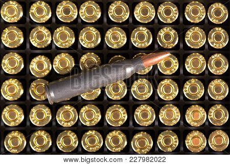 Ammunition Cartridge On Background. High Resolution Image.