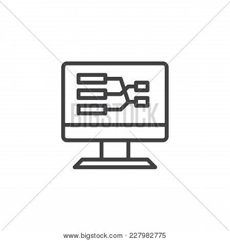 Desktop Pc Screen With Flow Chart Outline Icon. Linear Style Sign For Mobile Concept And Web Design.