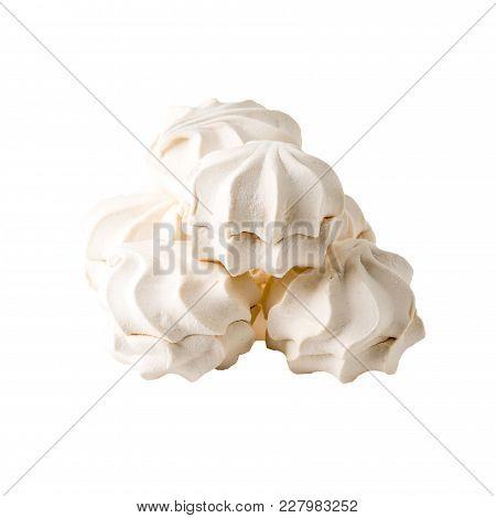 Vanilla Souffle, Marshmallow Or Zephyr Isolated On White Background
