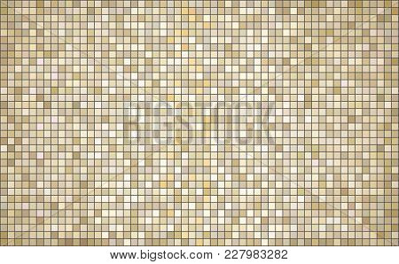 Beige Abstract Mosaic Background - Illustration,  Mosaic Grunge Beige Background,  Squares Of Light