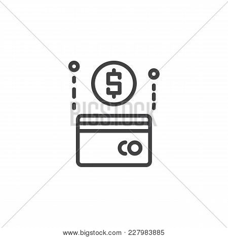 Dollar Credit Card Outline Icon. Linear Style Sign For Mobile Concept And Web Design. Payment Method