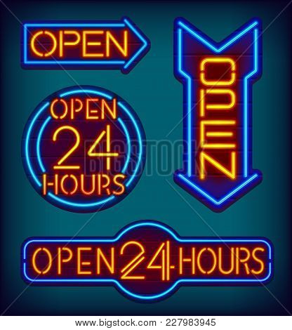 Open 24 Hours Neon Signs. Night Club Glowing Text On A Wooden Signboard. Neon Arrows. Colorful Glowi