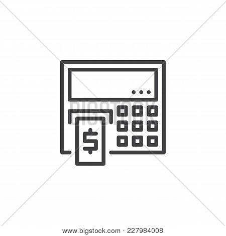 Atm Cash Machine Outline Icon. Linear Style Sign For Mobile Concept And Web Design. Cash Dispenser S