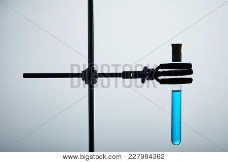 Test Tube Filled With Blue Liquid On Chemistry Stand