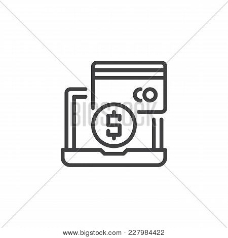 Online Payment Methods Outline Icon. Linear Style Sign For Mobile Concept And Web Design. Laptop Wit