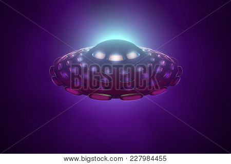 Ufo Flying Spaceship. Alien Intergalactic Saucer, 3d Illustration