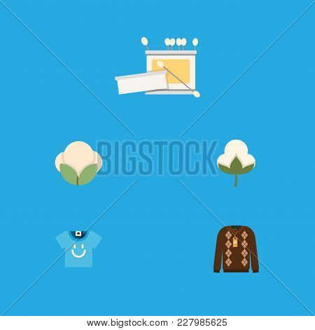 Icon Flat Cotton Set Of Fluffy, T-shirt, Bud And Other Vector Objects. Also Includes Cotton, Jacket,