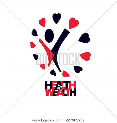 Healthy Lifestyle Conceptual Logotype, Icon. For Use In Charitable Organizations. Vector Illustratio