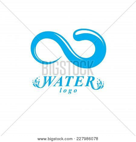 Global Water Circulation Vector Logo For Use As Marketing Design Symbol. Human And Nature Coexistenc