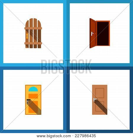Icon Flat Approach Set Of Entry, Gate, Door And Other Vector Objects. Also Includes Door, Exit, Appr