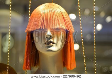 Red Faux Wig For Female Mannequin Head.