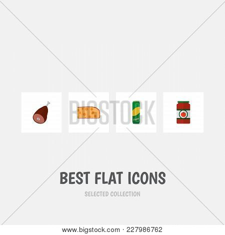 Icon Flat Food Set Of Pasta, Ham, Tomato Sauce And Other Vector Objects. Also Includes Beef, Meat, P