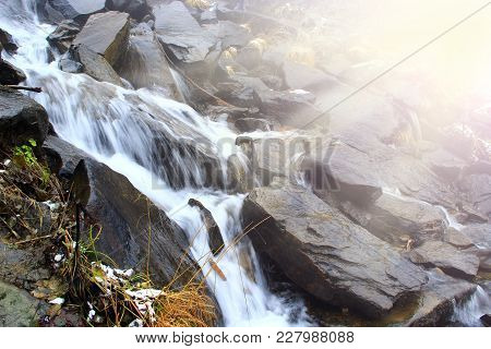 Beautiful Landscape With Waterfall And River Flowing In Mountains In Sunny Rays. Cascade Waterfall I