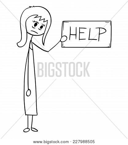 Cartoon Stick Man Drawing Conceptual Illustration Of Depressed Or Tired Businesswoman Or Woman Holdi