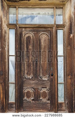 Old Wooden Door In The Ghost Town Of Bodie, California