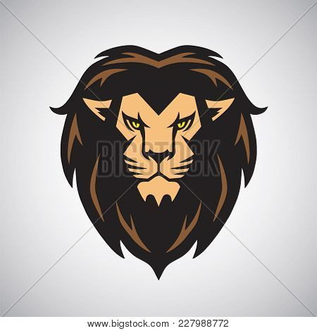 Lion Head Mascot Logo Design Vector Art Illustration