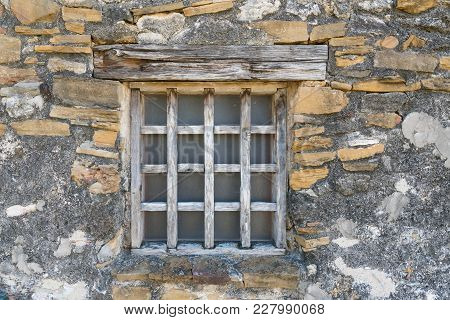 Old Wooden Window At Mission San Juan In Texas