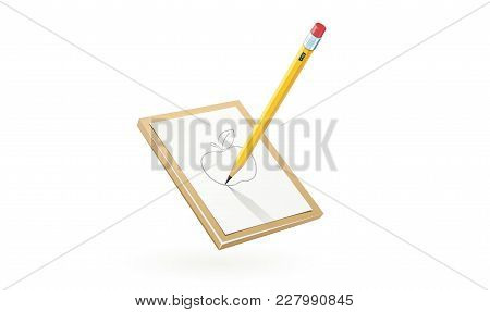 Pencil Draw Apple At White Paper. Art Tool For Sketch. Isolated White Background. Eps10 Vector Illus
