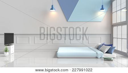 White-blue Bedroom Decorated With Light Blue Bed,tree In Glass Vase, Blue Pillows, Bedside Table, Wi