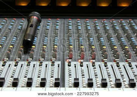 Professional Audio Mixing Board Console With Microphone Waiting For The Banquet Begin